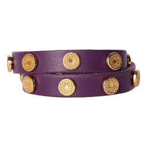 Picture of Eggplant Leather Wrap with Gold Studs